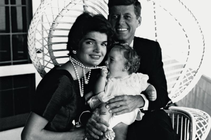 A photo of Jackie, Caroline and Jack Kennedy