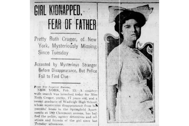 The case of Ruth Cruger, reported in February 1917. (Image courtesy of Brad Ricca)