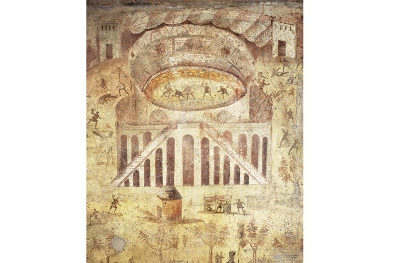 A painting on plaster of a riot at the amphitheater, Pompeii. c55-79 BC. (Photo By DEA PICTURE LIBRARY/De Agostini/Getty Images)