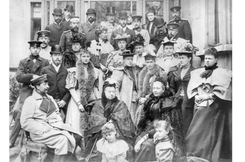 Queen Victoria with her children and grandchildren. Kaiser Wilhelm II is pictured left in the front row. (Photo by Bettmann via Getty Images)
