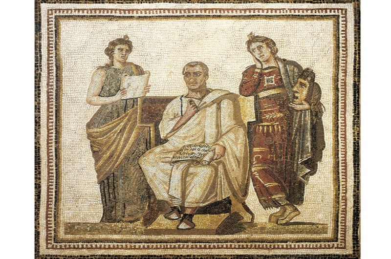 A mosaic depicting the poet Virgil writing the Aeneid. (Photo By DEA / G. DAGLI ORTI/De Agostini/Getty Images)