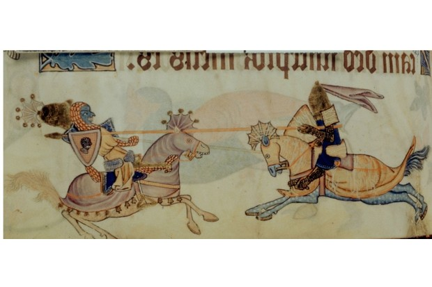 An image of Richard I and Saladin. Found in the British Library, c1325-1335. (Photo by Photo12/UIG/Getty Images)