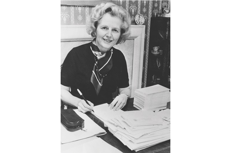 Politician Margaret Thatcher pictured at her desk replying to letters, as she waits for the results of the Conservative Party leadership race, at her home in Chelsea, London, February 10th 1975. (Photo by Keystone/Hulton Archive/Getty Images)