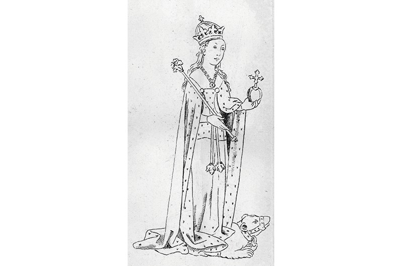 1483, Holding a sceptre and orb, Anne Neville (1456 - 1485), daughter of the Earl of Warwick and wife of King Richard III. (Photo by Hulton Archive/Getty Images)