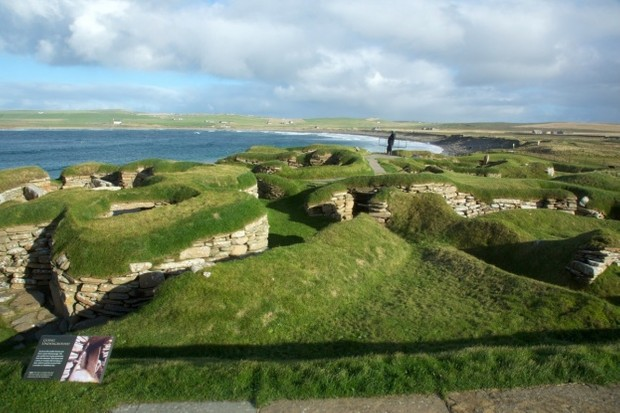An aerial view of Skara Brae