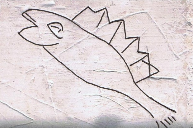 An early example of graffiti in the shape of a fish