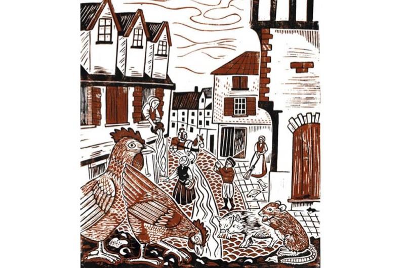 An illustration of a Tudor street