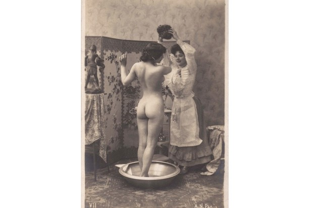 A Victorian lady washing in the nude