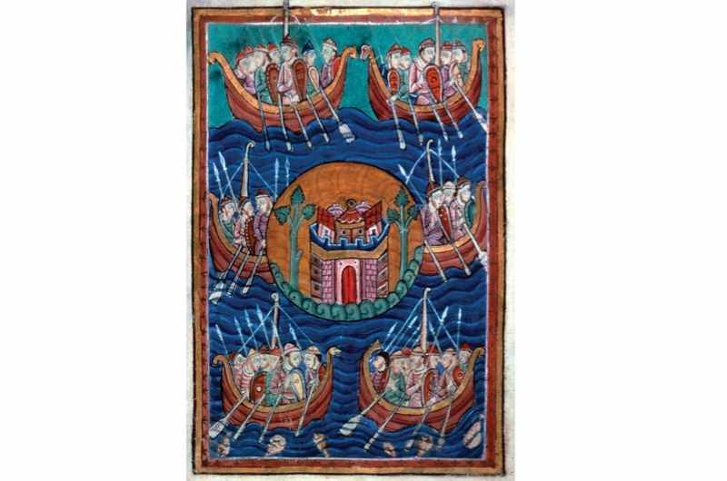 Viking ships arriving in Britain, c1130. (Fine Art Images/Heritage Images/Getty