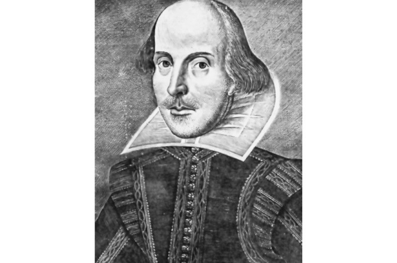 Droeshout Portrait. This engraving appeared as the First Folio frontispiece. (© Getty Images)