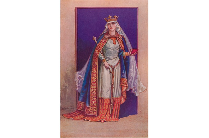 Matilda of Flanders', 1925. Matilda of Flanders. Matilda (circa 1031-1083) was Queen Consort of William the Conqueror. From Costume & Fashion, Volume Two, Senlac to Bosworth 1066-1485, by Herbert Norris. [J. M. Dent and Sons Ltd., London and Toronto, 1927].  Artist: Herbert Norris. (Photo by The Print Collector/Getty Images)