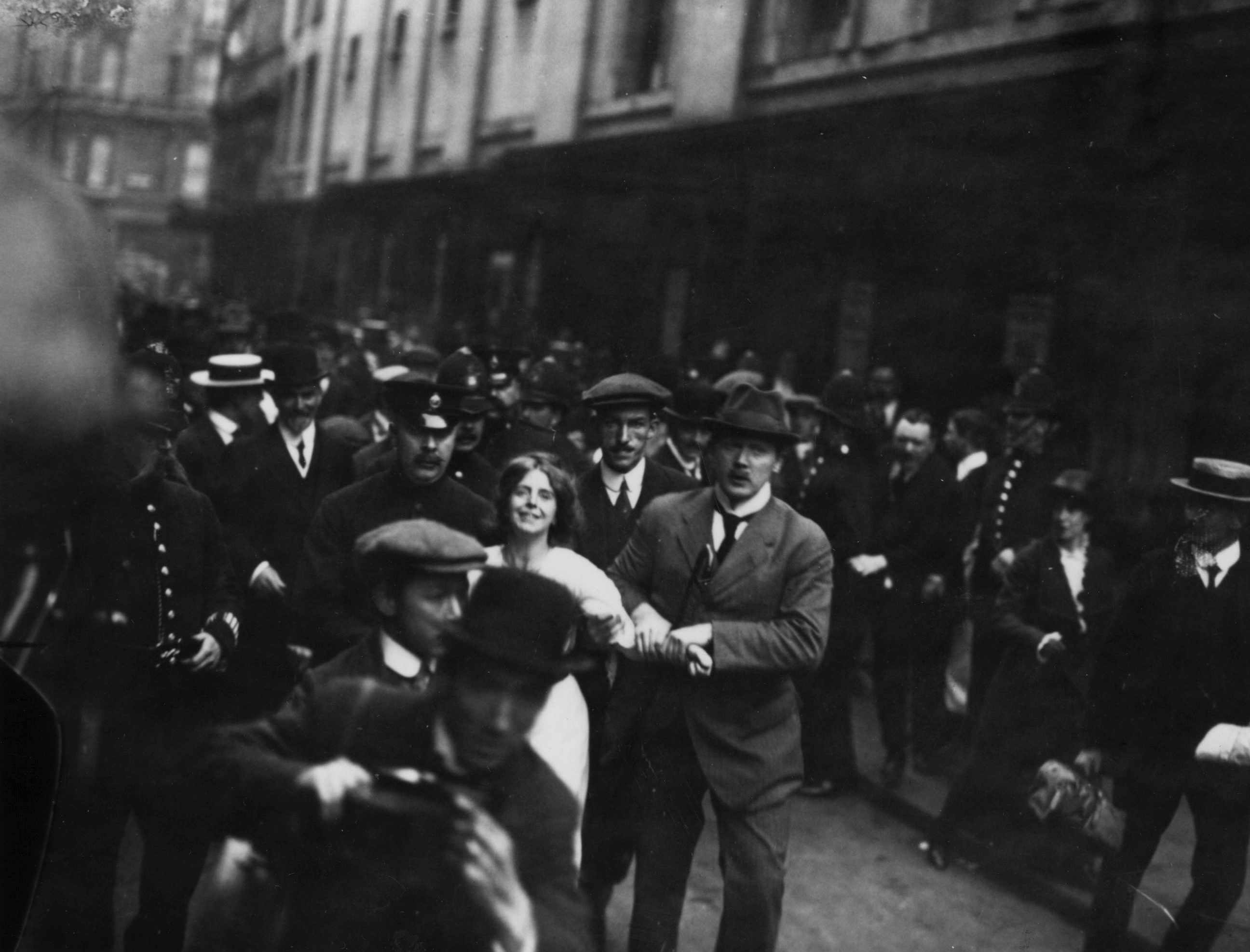 Suffragette Annie Kenney is arrested during a demonstration. (Photo by Hulton Archive/Getty Images)