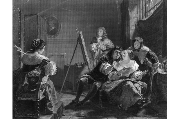 Samuel Pepys sits in an artist's studio whilst his wife Elizabeth