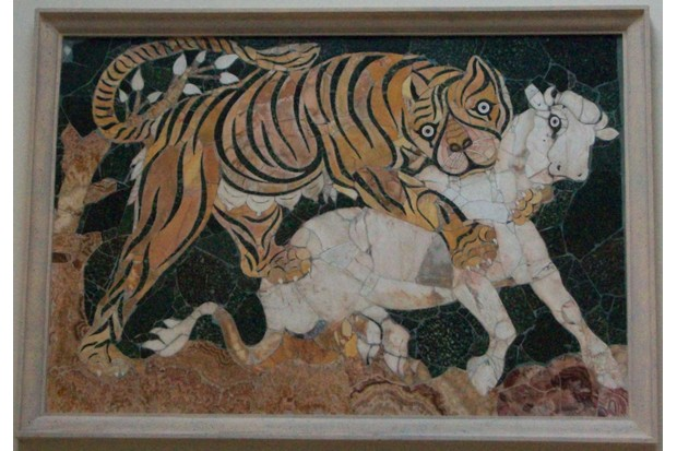A mosaic panel of tiger fighting in the Roman arena