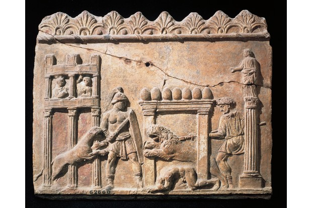 A Roman relief portraying gladiators and lions fighting