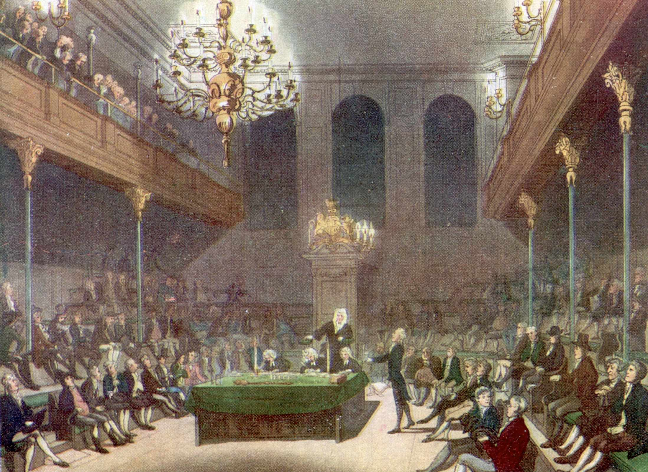 A 19th-century illustration showing interior of the House Commons while in session. (Photo by Time Life Pictures/Mansell/The LIFE Picture Collection/Getty Images)