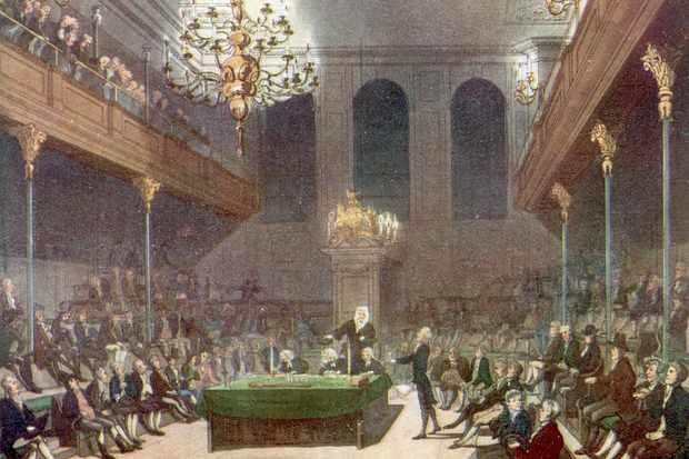 A 19th-century illustration showing interior of the House of Commons while in session. (Photo by Time Life Pictures/Mansell/The LIFE Picture Collection/Getty Images)