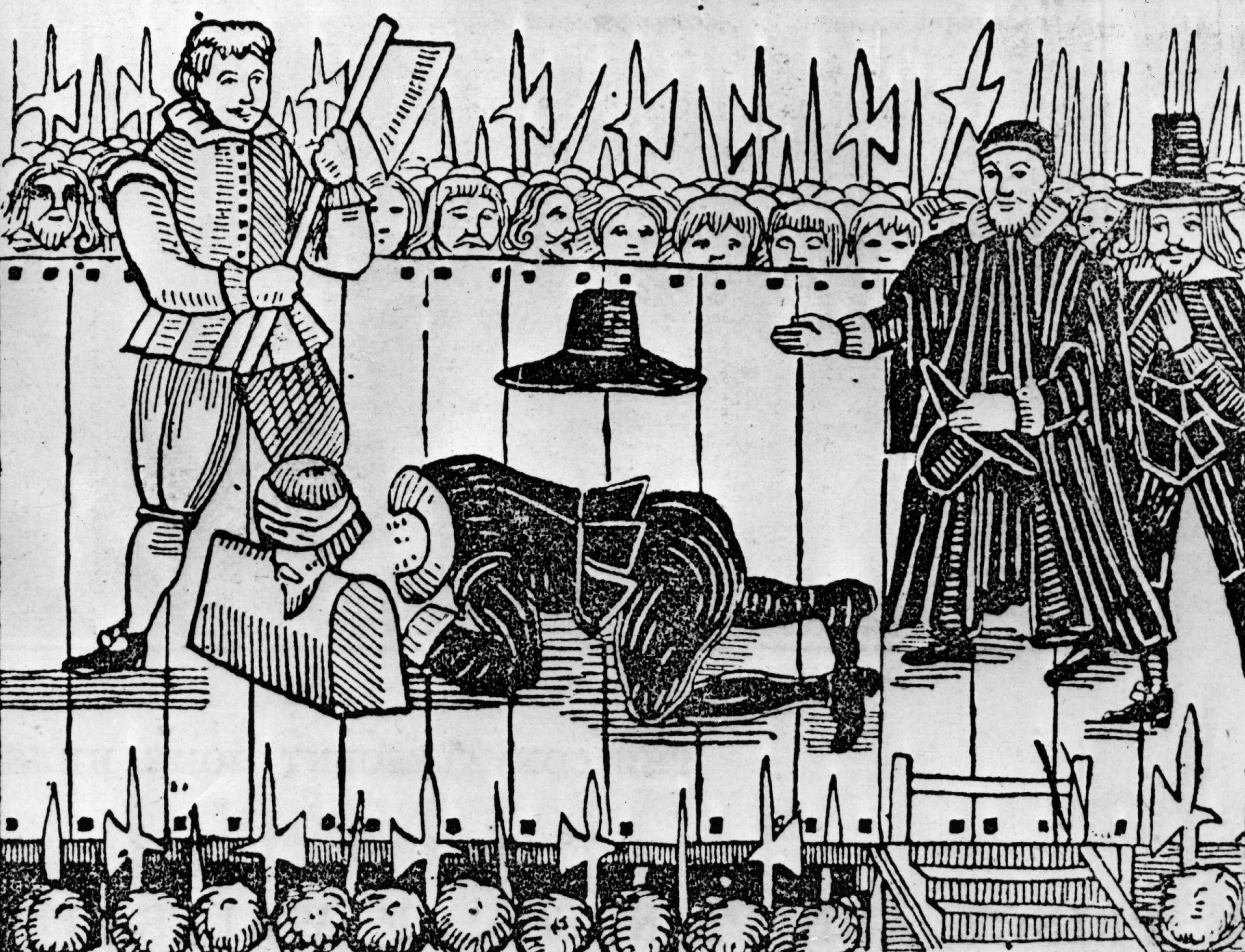 """For those of noble birth who were condemned to die, execution by beheading (which was considered the least brutal method of execution) was used until the 18th century,"" says criminologist and historian Lizzie Seal. This illustration depicts the execution of Charles I in January 1649. (Photo by Hulton Archive/Getty Images)"
