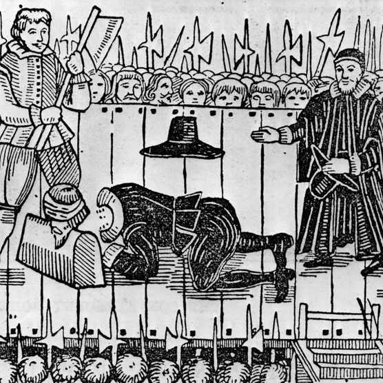 """""""For those of noble birth who were condemned to die, execution by beheading (which was considered the least brutal method of execution) was used until the 18th century,"""" says criminologist and historian Lizzie Seal. This illustration depicts the execution of Charles I in January 1649. (Photo by Hulton Archive/Getty Images)"""