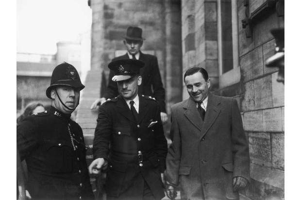 John George Haigh, known as the Acid Bath Murderer, arrives at Horsham Magistrates Court