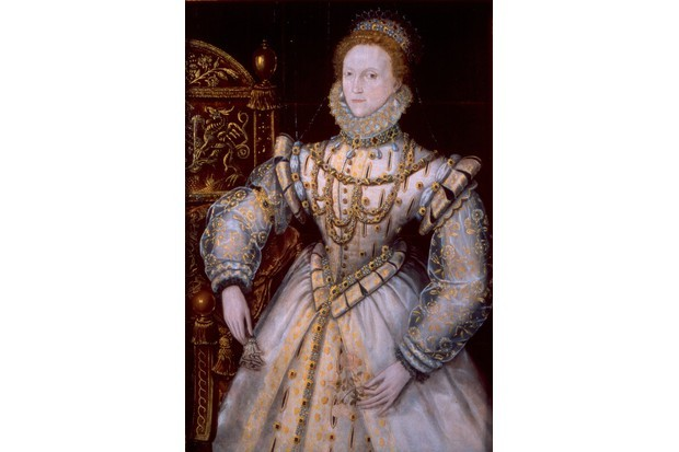 Elizabeth I by an unknown Anglo-Netherlandish artist, c1575. The portrait depicts Elizabeth wearing a jewel-encrusted white doublet given to her as a gift from Dudley at New Year 1575. (Photo by Reading Museum)