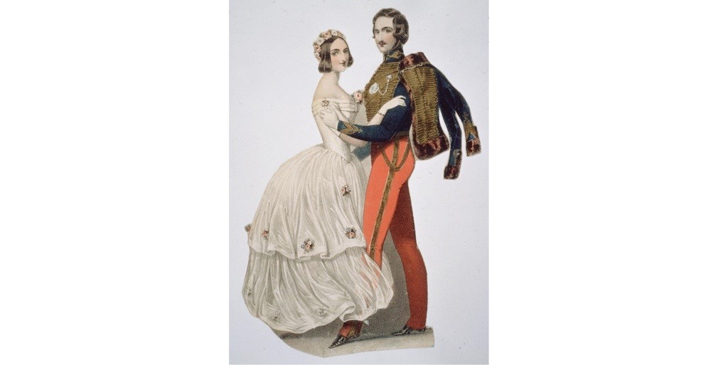 An illustration of Queen Victoria and Prince Albert taking to the dance floor. (Photo by Hulton Archive/Getty Images)