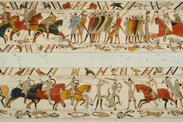 A scene from the Bayeux Tapestry depicting the Norman invasion of 1066. The tapestry was most likely embroidered by women in Norman England in a workshop setting using four embroidery stitches – stem stitch; split stitch; chain stitch; and laid work, sometimes called 'Bayeux Stitch', says Dr Alexandra Lester-Makin. (Photo by Hulton Archive/Getty Images)