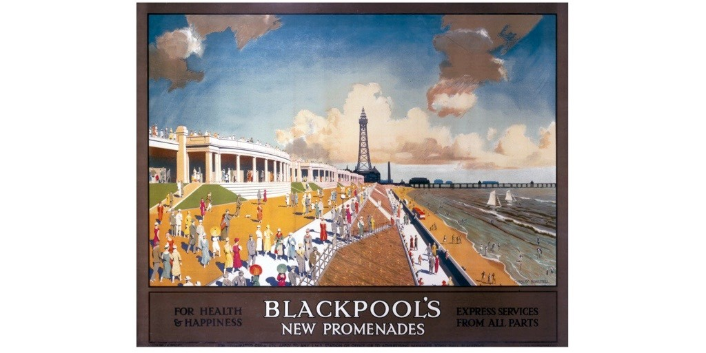 A poster produced for the London, Midland & Scottish Railway (LMS) promoting express rail travel to the Lancashire seaside resort of Blackpool, the world's first working-class seaside resort. (Photo by SSPL/Getty Images)