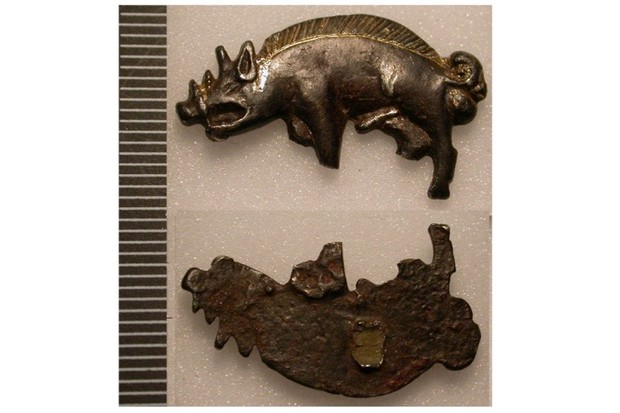 Boar badge of Richard III discovered in Bosworth Field. (Photo by Creative Commons)