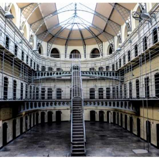 Kilmainham Gaol's distinctive central staircase, as seen in 'The Italian Job'. (Photo by Dreamstime)