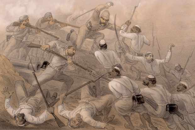 The repulse of a sortie during the Siege of Delhi, a conflict of the Indian Rebellion of 1857. The rebels advance on a British battery, who repel them with swords, bayonets and rifles. A lithograph by E. Walker, after a drawing by Captain G. F. Atkinson. (Photo by Hulton Archive/Getty Images)