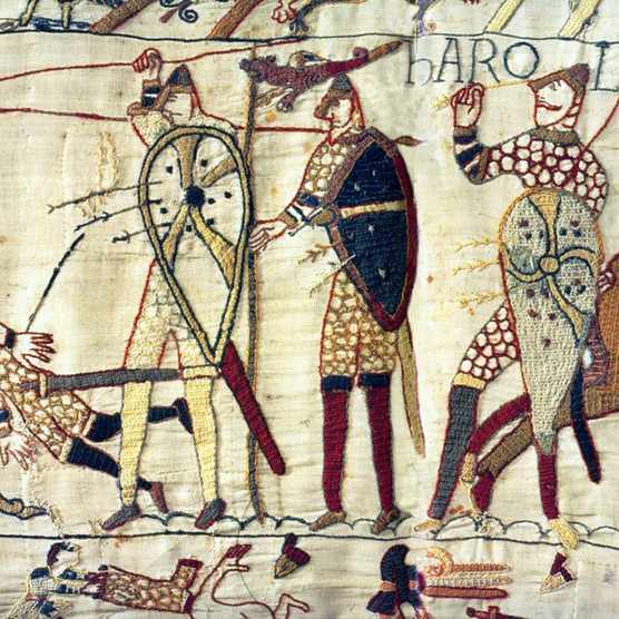 1754: English King Harold lies dead at the Battle of Hastings during the Norman Invasion of 1066. Depicted in the Bayeux Tapestry (Photo by Universal History Archive/Getty Images)