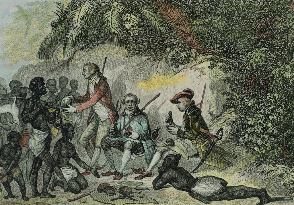 """James Cook, commander of HMS 'Endeavour', meets Tahitians in an 18th-century engravings. The ship's naturalist Joseph Banks declared the Polynesian island """"the truest picture of an Arcadia"""". (Photo by DeAgostini/Getty Images)"""