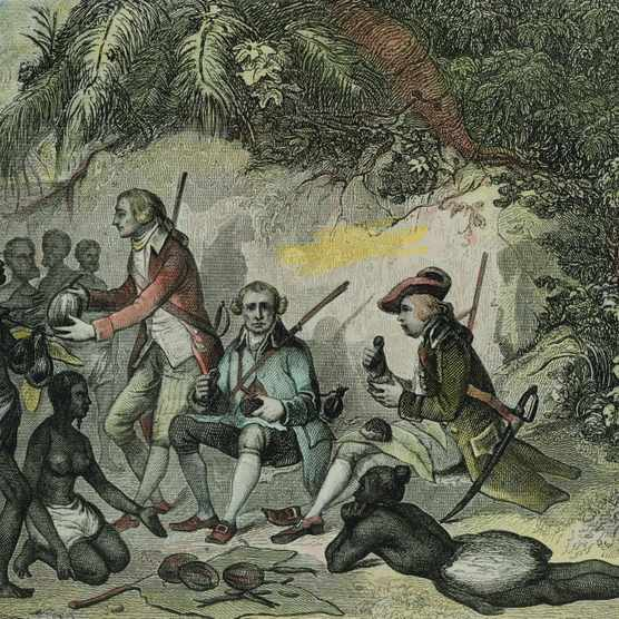 UNSPECIFIED - NOVEMBER 19:  James Cook meets the Tahitians, engraving, 18th Century. (Photo by DeAgostini/Getty Images)