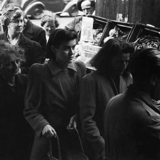 Women queue for potatoes in a greengrocer's shop somewhere in London, c1945. (Photo by Ministry of Information Photo Division Photographer/IWM via Getty Images)
