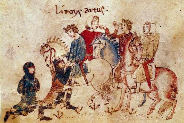 King Arthur addresses his knights in a 12th-century Arthurian manuscript now held in Rennes, France. (Photo by: Leemage/UIG via Getty Images)