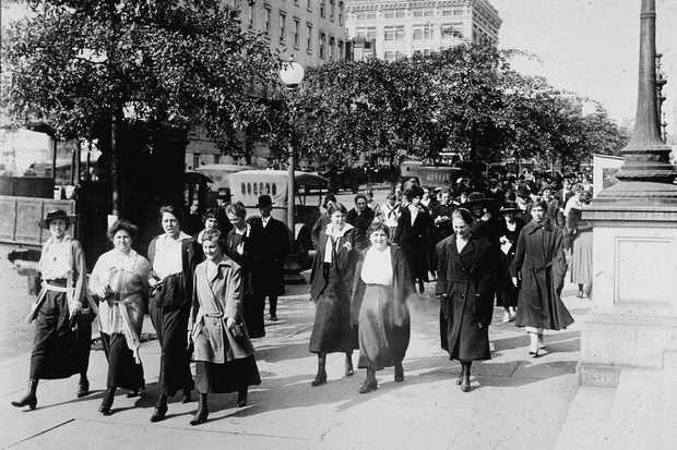 Women 'take the air' in an attempt to ward off the Spanish Flu
