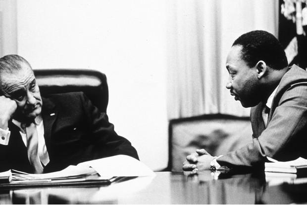 President Lyndon B Johnson and Martin Luther King