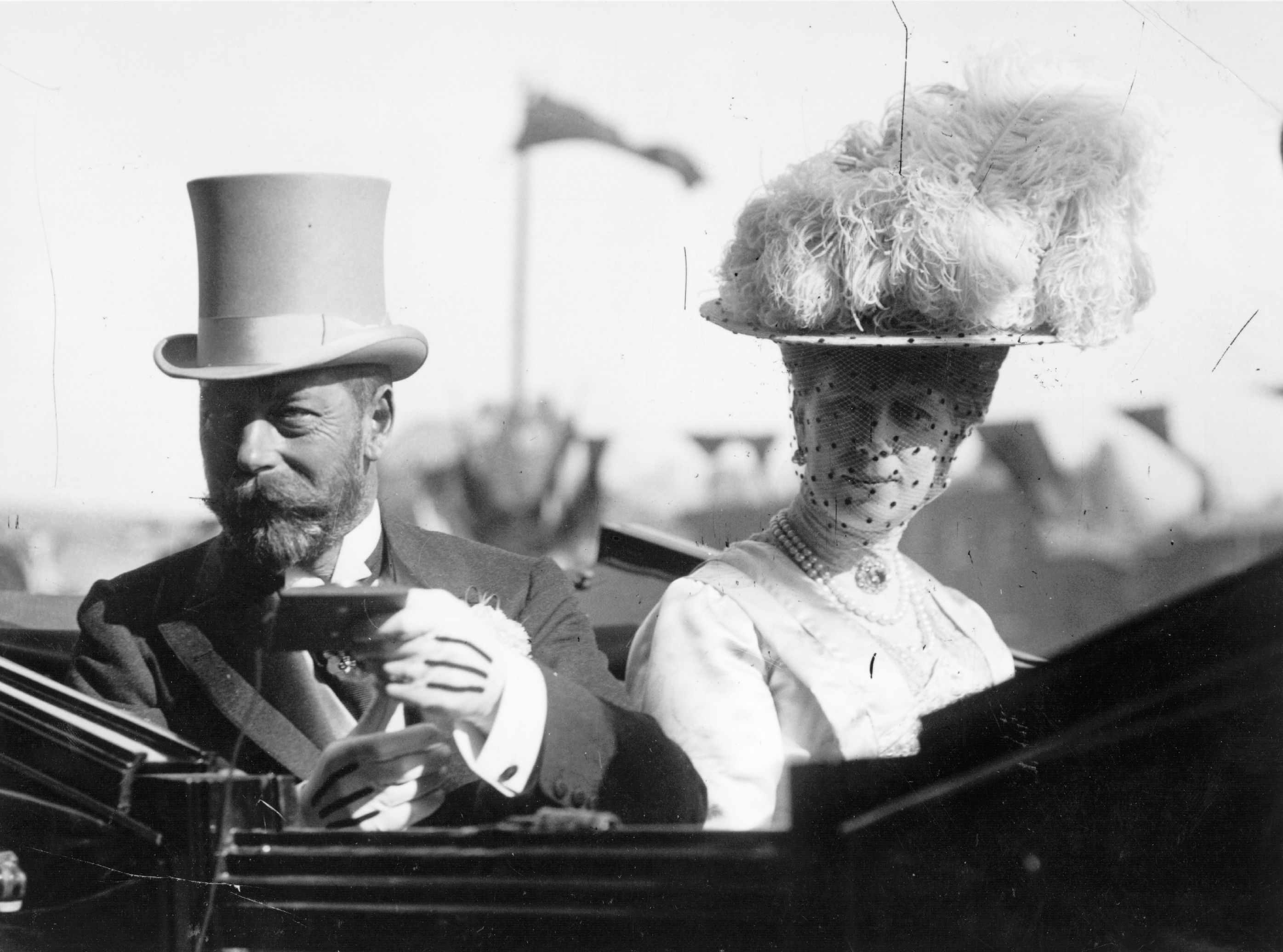 King George V and his wife, Queen Mary, pictured during a visit to Dublin in 1911. The royal couple were deeply conservative but common sense taught them they had to adapt to the modern world. (Photo by Topical Press Agency/Getty Images)