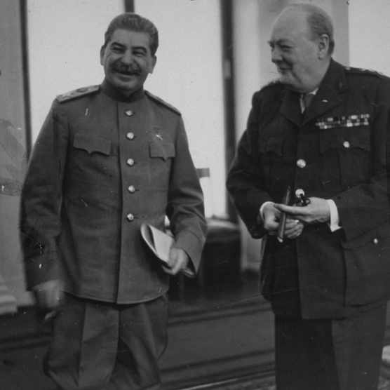 "Churchill and Stalin at the Kremlin in August 1942. Despite Stalin's bloodthirsty reputation, the trip ended with Churchill saying the Soviet leader was a ""great man"". (Photo by Hulton Archive/Getty Images)"