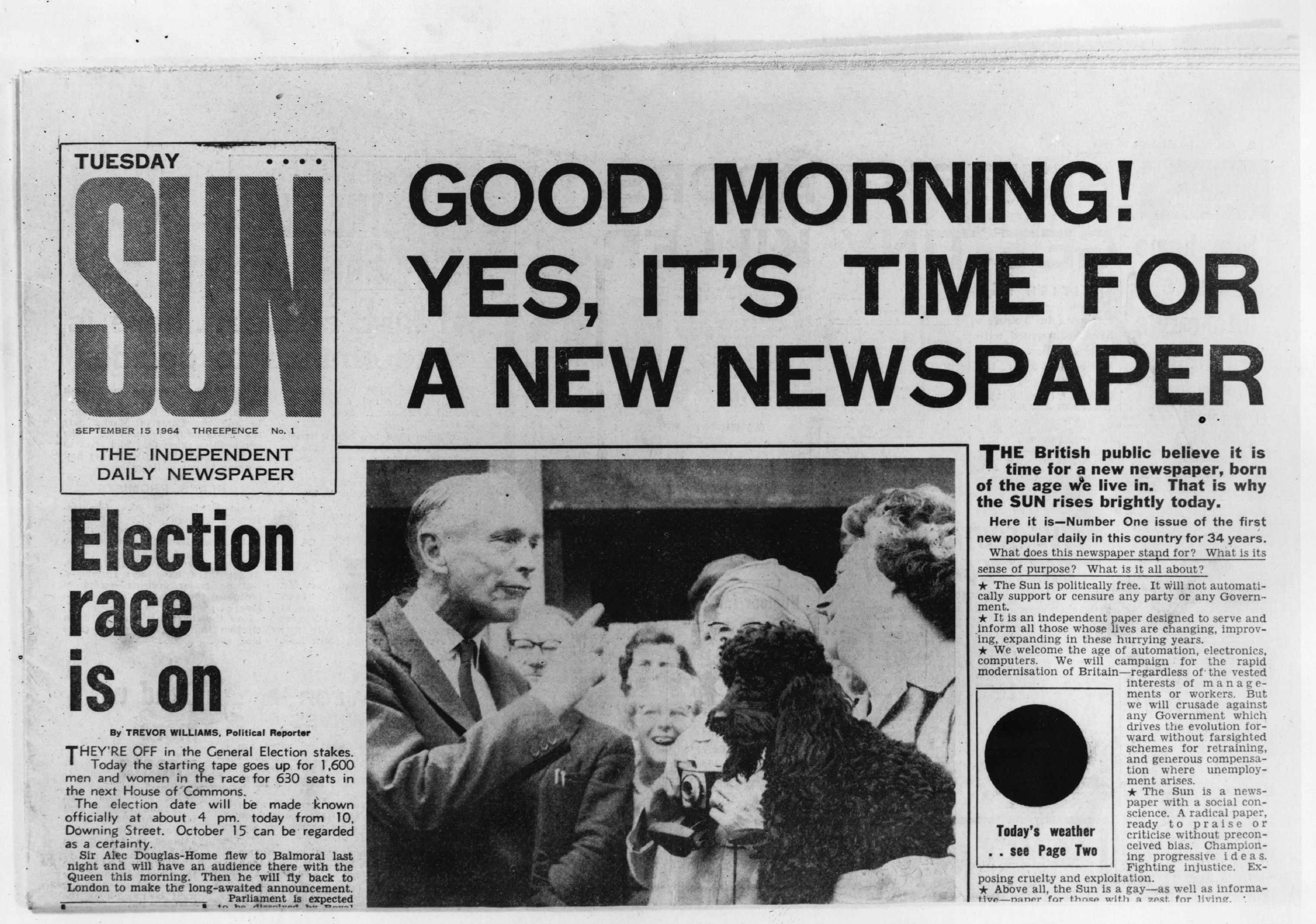 The front page of the first edition of The Sun newspaper. (Photo by Central Press/Getty Images)