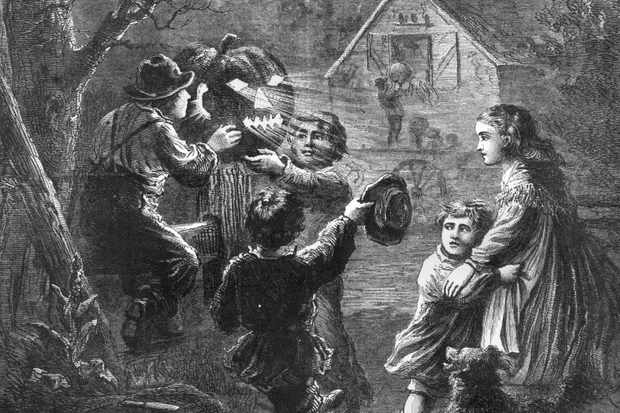 This 1867 magazine illustration shows a group of children preparing for Halloween. (Photo by American Stock/Getty Images)