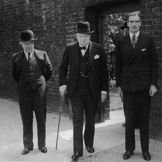 Winston Churchill leaves a cabinet meeting