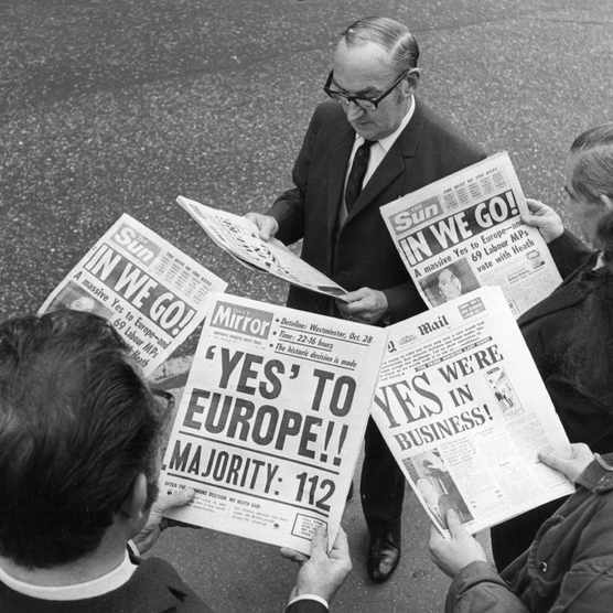 Britain's decision to join the Common Market made front page news in the early Seventies. (Photo by Douglas Miller/Keystone/Getty Images)