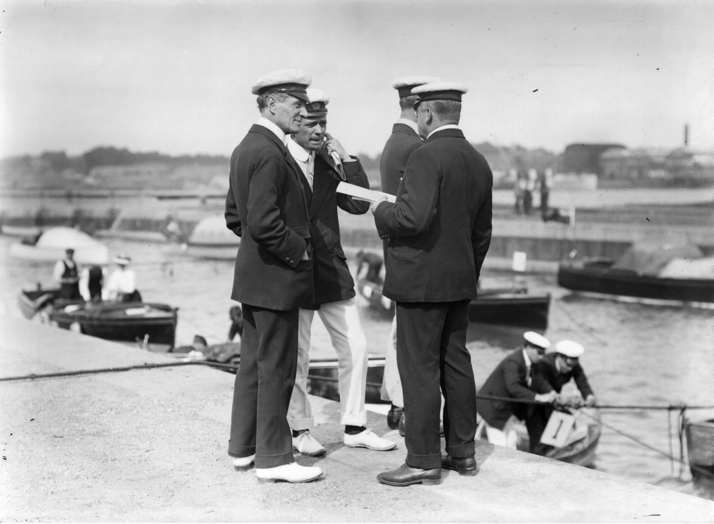 Commander Mansfield Smith-Cumming (later head of the British Secret Service), Professor Redwood and Bernard Redwood at the Motor Yacht Club Reliability Trials on Southampton Water, 1907. (Photo by Topical Press Agency/Getty Images)