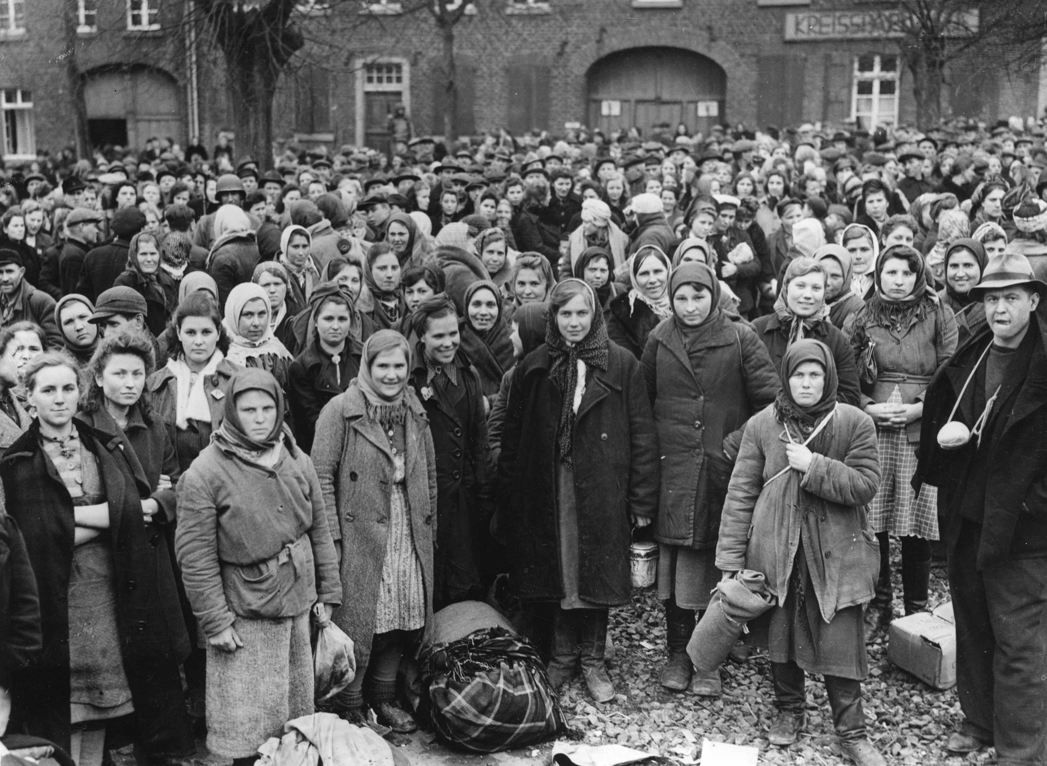 Russian and Polish women liberated from a forced labour camp