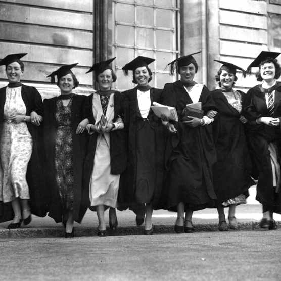 A group of students celebrate their graduation in Cardiff