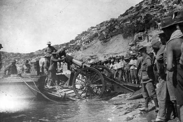 "Troops pictured during the Gallipoli campaign of the First World War. The attempt by the allies to seize the Gallipoli peninsula ""failed in a welter of hubris, blood and suffering,"" says Peter Hart. (Photo by Hulton Archive/Getty Images)"