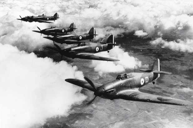 A flight of Hawker Hurricane fighter aircraft of No 73 Squadron RAF, over France, 19 April 1940. (Photo by S. A. Devon/Hulton Archive/Getty Images)