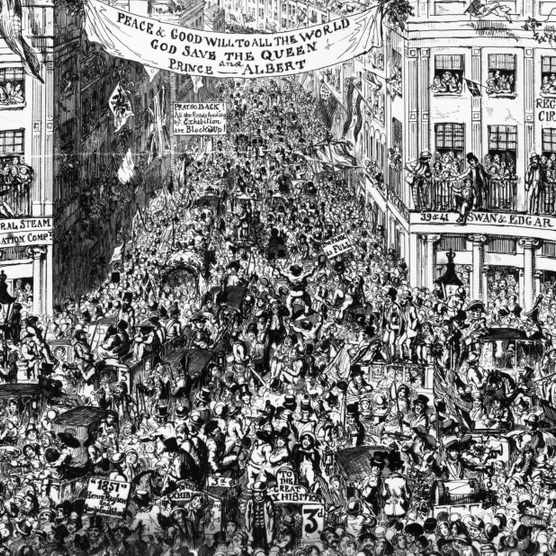 An engraving depicting London's Piccadilly Circus heaving with crowds on their way to The Great Exhibition of 1851. A banner reading 'God save the Queen and Prince Albert' has been strung across the street. Within the Crystal Palace some 100,000 objects were displayed – taking up ten miles of space – the work of 15,000 contributors. (Photo by Rischgitz/Getty Images)